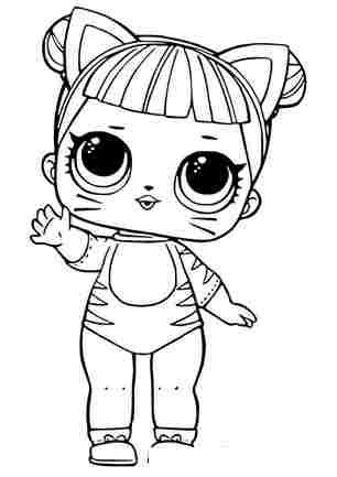 Розмальовка ЛОЛ лялечка Котик