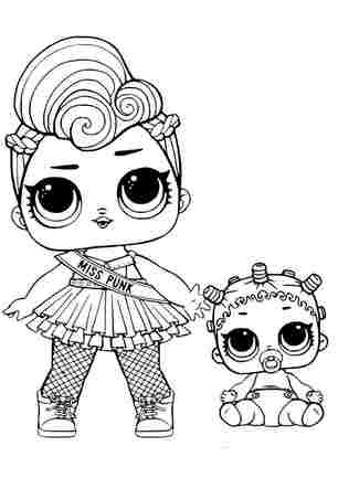 Розмальовка ЛОЛ міс Панк з малишкою