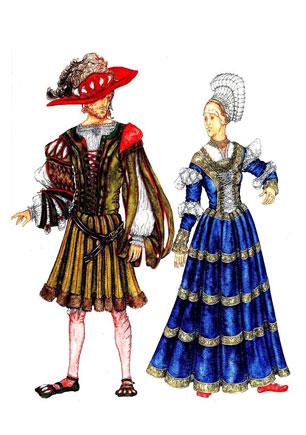 Розмальовка вбрання різних часів