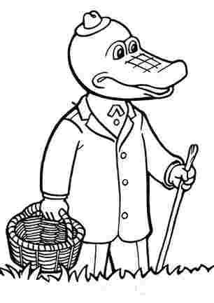 Крокодил Гена з палицею та кошиком