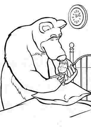 Медвідь вкладає Машу спати