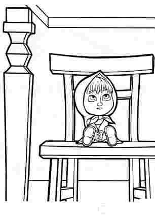 Маша сидить на стільчику