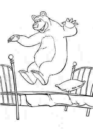 Медвідь пригає на ліжку