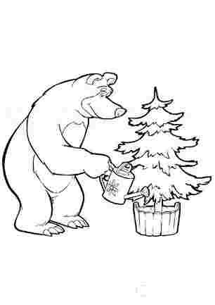Медвідь поливає ялинку