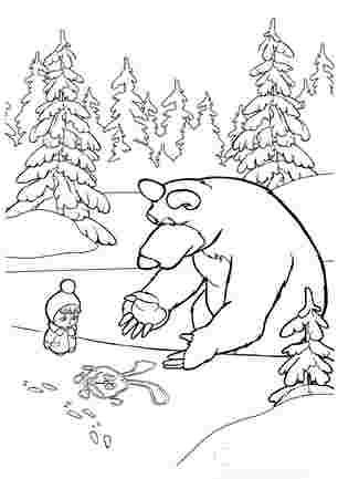 Маша і медвідь малюють на снігу