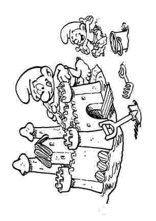 Смурфік будуя пісчяний замок