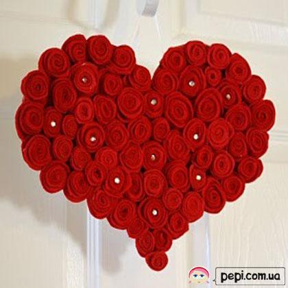 Подарунки на день Валентина - Серце із троянд майстер клас